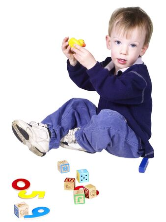isolated toddler playing photo