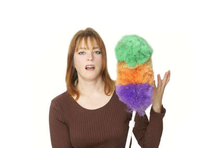 impressed: not impressed woman with a dirty duster