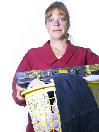 rushed: woman multitasking