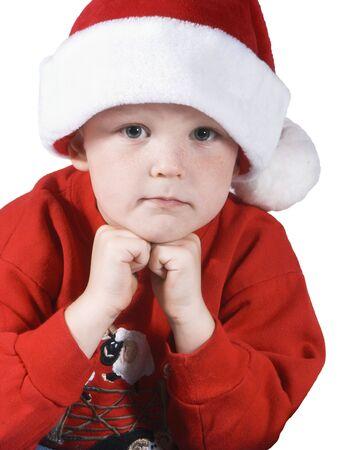 santa boy pose Stock Photo