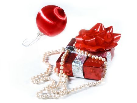 isolated present with pearls photo