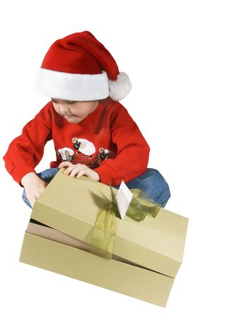 boy opening presentchild giving a present and happy Stock Photo