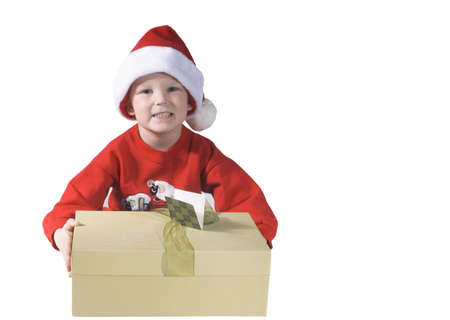 santaclause hat: child giving a present and happy