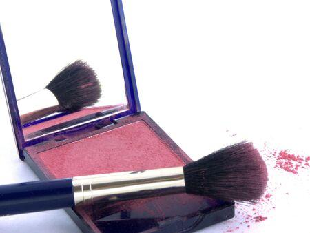 blush: isolated blush brush and powder Stock Photo