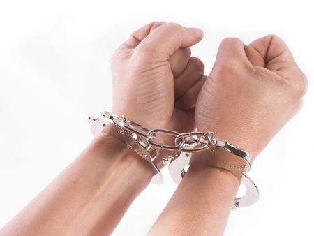 isolatedhand and cuffs photo