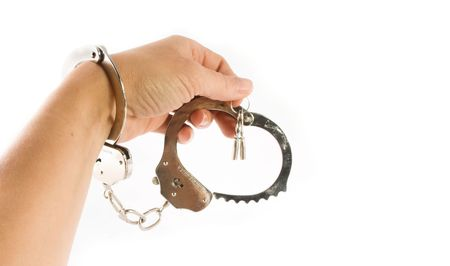 wrongdoing: isolatedhand and  handcuffs with keys