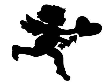 adore: silhouetted cupid Stock Photo