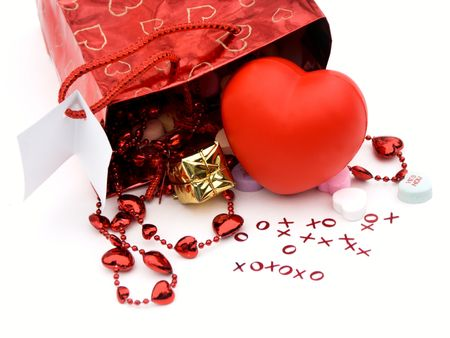 isolated gift bag and presents with xoxo and hearts,shallow dof,close-up photo