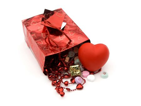 isolated gift bag and presents and hearts,shallow dof photo