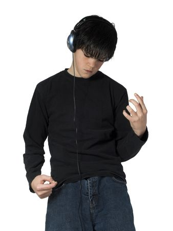 isolated teen playing air guitar