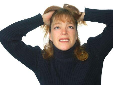 uneasiness: mujer aislada con la expresi�n o el dolor frustrada