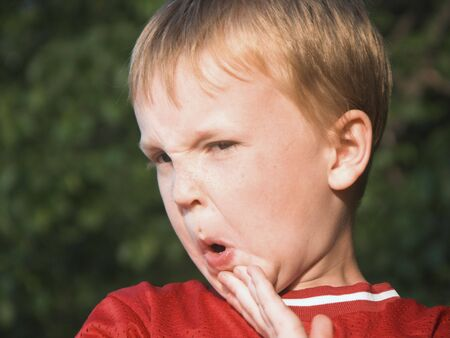 cousin: isolated boy with expresion Stock Photo