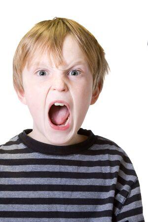 Geïsoleerde kind met een emotionele uitbarsting Stockfoto - 6369329