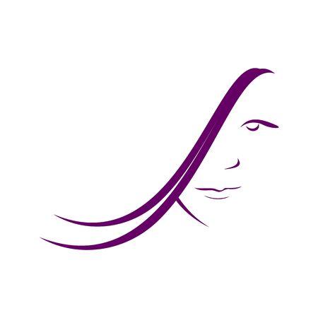 hairdo: Hairdo Salon Woman Profile Line Art Purple Illustration