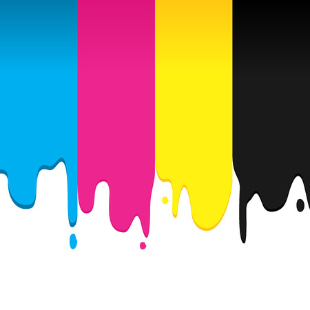 CMYK paint dripping vector graphic background design illustration.