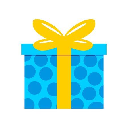 Blue Polkadot Gift Box Vector Graphic Illustration Sign Symbol Design. Illustration