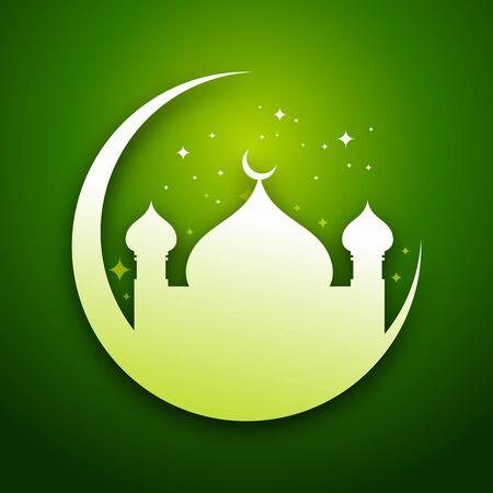 Green Eid Mubarak Graphic Card Design Stok Fotoğraf - 94022757
