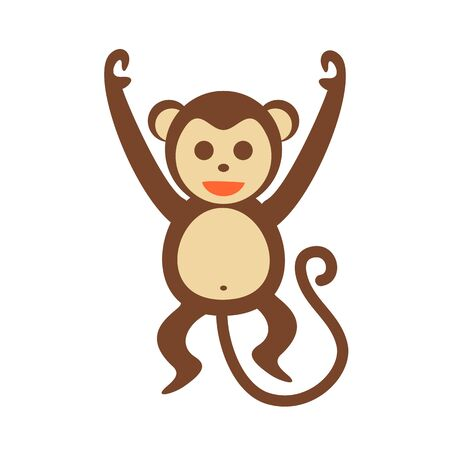 Isolated Happy Monkey Action Illustration