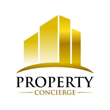 Golden Property Concierge Symbol Vector Graphic Logo Design Template