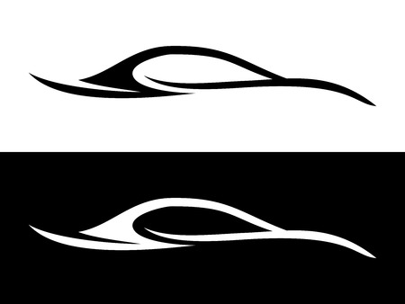 Abstract Car Shape Black and White Symbol Vector Graphic Logo Design