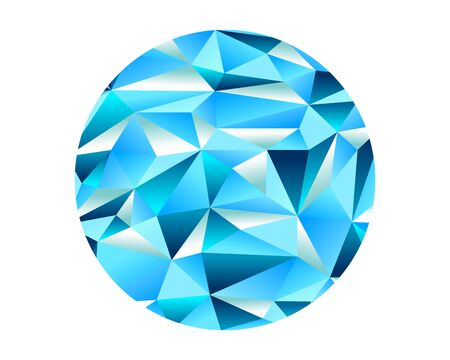 Diamond Ice Crystal Low Poly Ellipse Shape Vector Graphic Background Design