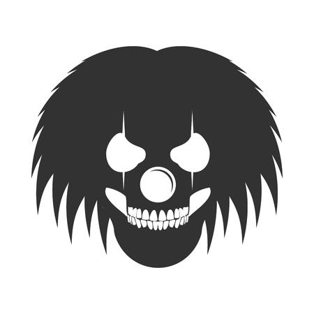 Clowny Messy Haired Skull Head Logo Symbol Vector Graphic Design Illustration