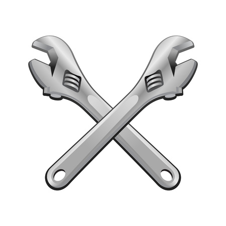 Double Adjustable Wrench Cross Realistic Vector Object Graphic Illustration Design