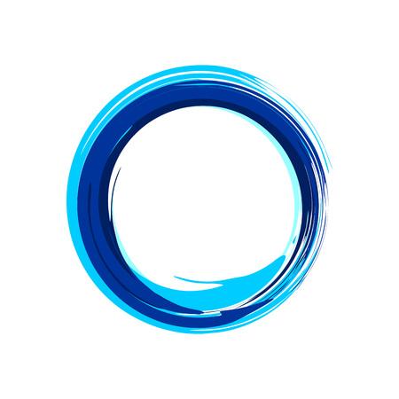 Zen Symbol Abstract Blue Ink Brush Vector Graphic Design