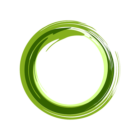 Zen Symbol Abstract Green Ink Brush Vector Graphic Design