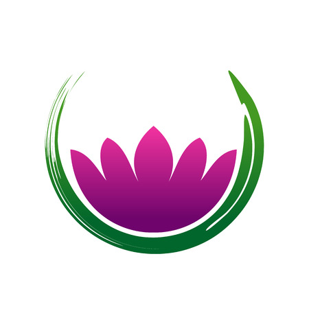 Lotus Zen Abstract Symbol Brush Vector Graphic Design