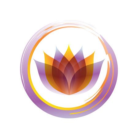 Stylish Zen Lotus Abstract Symbol Brush Vector Graphic Design