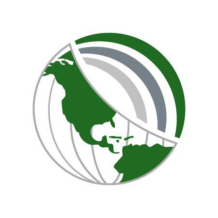 Green World Global Network Vector Symbol Graphic icon Design