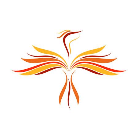 Abstract Flame Flying bird Line Art Symbol vector illustration