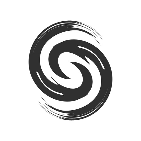 Initial S Zen Refresh Symbol Brush Vector Graphic Design