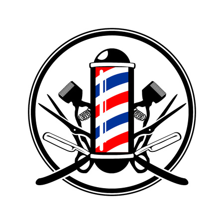 Circular Emblem Barbers Pole with Scissor, Razor And Old Clippers Symbol Vector Graphic Badge Design