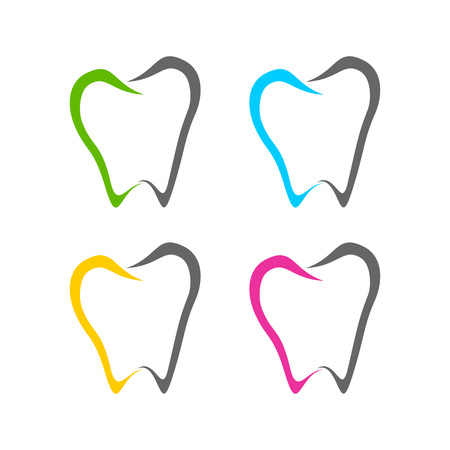 Abstract Dental Tooth Line Art Icons Vector Symbol Graphic Logo Design