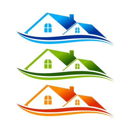 Real Estate Swoosh Logo Symbol Template Vector Graphic Design