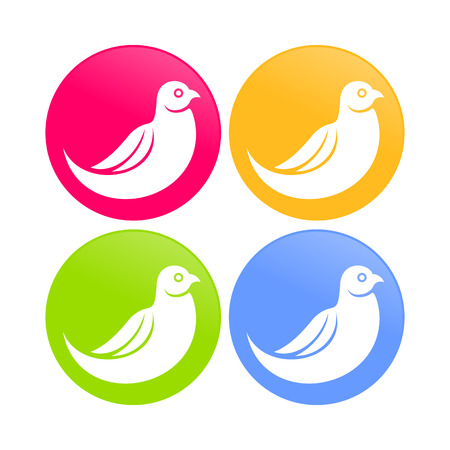 Abstract Dove Bird Color Round Icons Vector illustration.