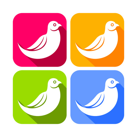 Abstract Dove Bird Color Rounded Square Icons Vector Graphic Design