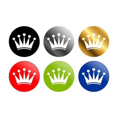 Simple Crown Round Icons Vector Graphic Design