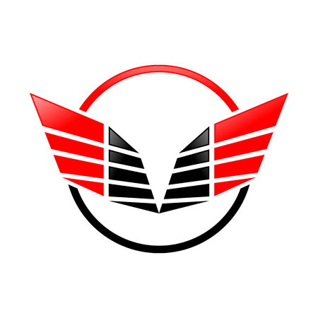 Abstract Sharp Wings Ring Red Black Colors Vector Symbol Graphic Logo Design Illustration
