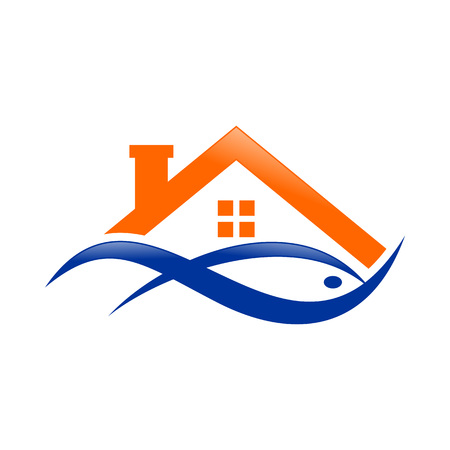 Abstract Lake House Watery Fish Orange Blue Logo Symbol Vector Graphic Design