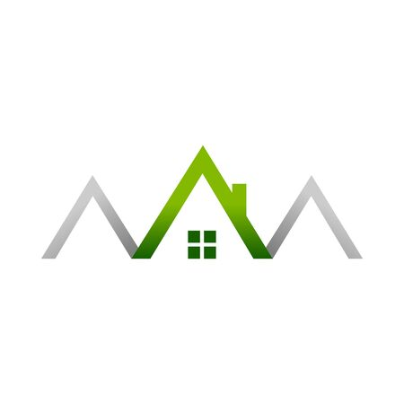 Green House Realty House Logo Symbol Vector Graphic Design  イラスト・ベクター素材