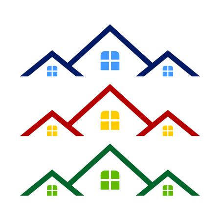 Triple Rooftop Real Estate Logo Symbol Vector Graphic Design Template