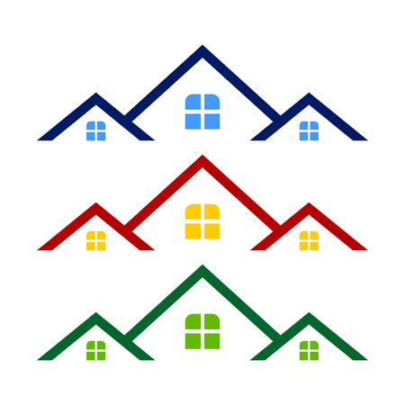 Triple Rooftop Real Estate Logo Symbol Vector Graphic Design Template