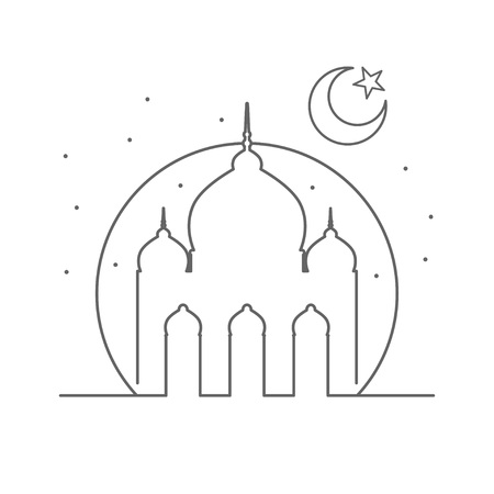 Islamic Mosque Outline Illustration Symbol Design  イラスト・ベクター素材