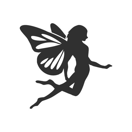 Flying Fairy Silhouette Vector Character Graphic Logo Design