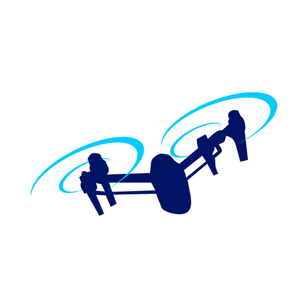 Drone Attack Blue Vector Symbol Graphic Logo Design
