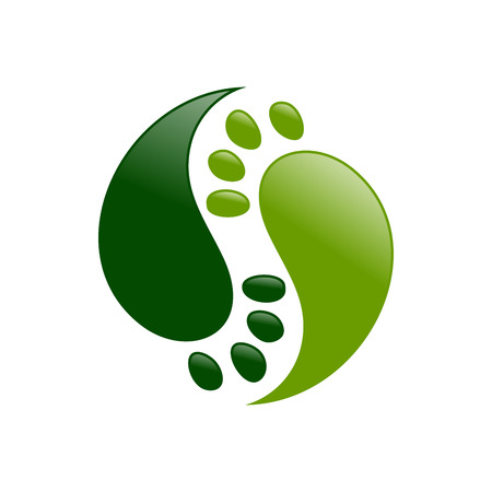 Yin Yang Foot Prints Vector Symbol Graphic Logo Design