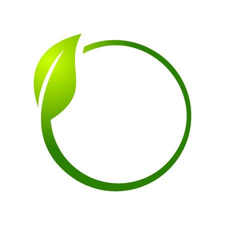 Eco Leaf Circle Vector Symbol Graphic Logo Design Template Illustration
